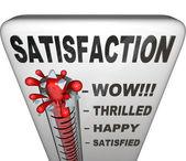 Termómetro de satisfacción mide el nivel de cumplimiento de felicidad — Foto de Stock