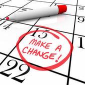 Breng een wijziging - dag omcirkeld in agenda — Stockfoto