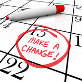 Make a Change - Day Circled on Calendar — 图库照片