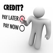 Choose Credit to Pay Later vs Now - Borrowing Money — Stock Photo