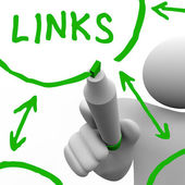Links Connected in Network Drawn on White Board — Stock Photo