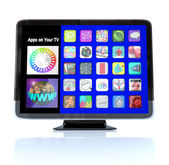 Apps Icon Tiles on High Definition Television HDTV — Zdjęcie stockowe