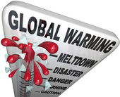 Global Warming Thermometer Shows Rise in World Temperatures — Stock Photo