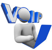 VOIP Person Talking on Computer Voice Over Internet Protocol — Stock Photo