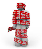 Person Wrapped Up in Red Tape of Bureaucracy Rules of Order — Photo