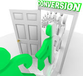 Converting Prospects into Customers Through Doorway — Stock Photo