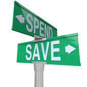 Save Vs Spend Two Way Street Signs Point to Fiscal Responsibilit — Stock Photo