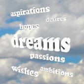 梦想-天空的希望、 激情、 野心中的单词 — 图库照片