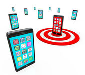 Targeted Smart Phone Application Icons for Apps — Stock Photo