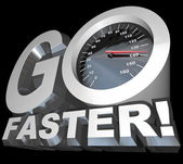 Go Faster Speedometer Racing to Successful Speed — Stock Photo