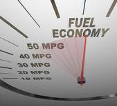 Ekonomin hastighetsmätare åtgärder mpg bränsleeffektiviteten i bil eller ford — Stockfoto