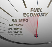 Fuel Economy Speedometer Measures MPG Efficiency in Car or Vehic — Stok fotoğraf