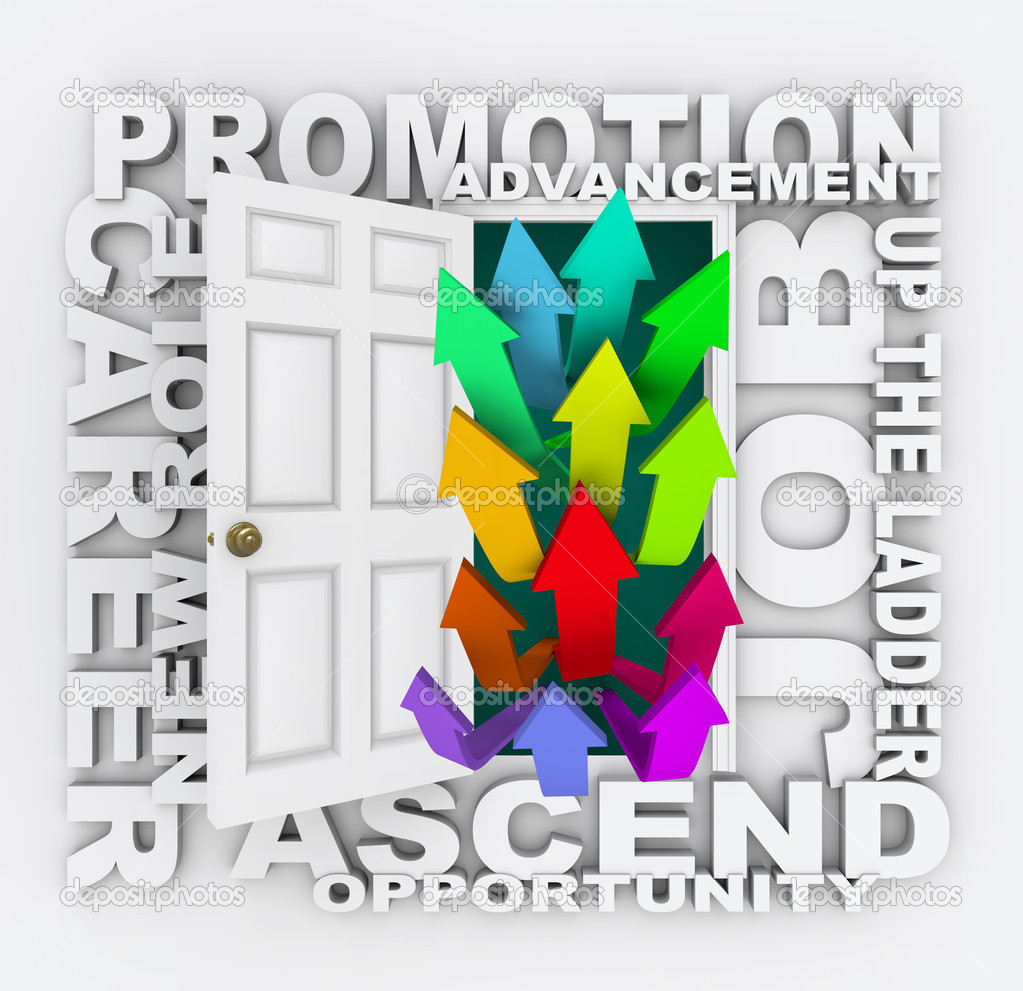 promotion door career path job opportunity opening for you a door opens to arrows shooting upward words like promotion career opportunity advancement job up the ladder and ascend representing upward