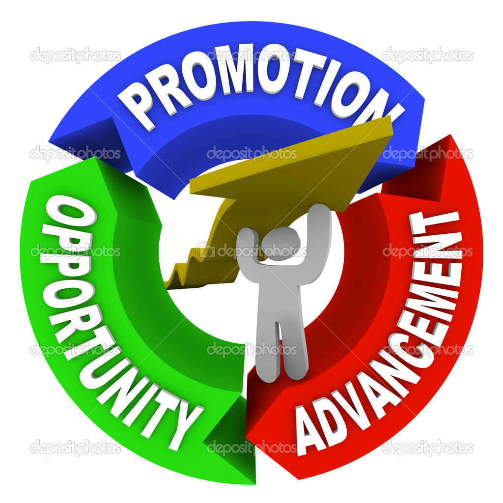 A man lifting an arrow within a circular diagram showing the words Promotion, Advancement and Opportunity, representing a person on a positive career path to hi — Stock Photo #6637405