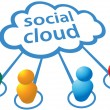 Social media cloud computing connections - Stock Vector