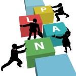 plan de empuje de equipo negocio junto — Vector de stock