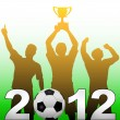 Football players celebrate 2012 season soccer victory — Stock Vector