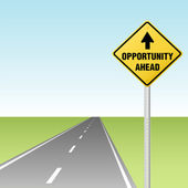 OPPORTUNITY AHEAD Traffic Sign on Highway — Stock Vector