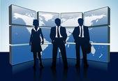 Siluetas de negocio mundial mapa monitores — Vector de stock
