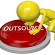 Foto Stock: Business person cartoon push OUTSOURCE button concept