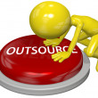 Business person cartoon push OUTSOURCE button concept - Stock Photo