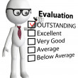 Cartoon teacher manager check evaluation form report - Stock Photo