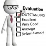 Cartoon teacher manager check evaluation form report — Stock Photo