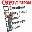 Woman builds up credit report score rating - Stock Photo