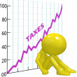 High tax increase chart ruin 3D taxpayer - Stock Photo
