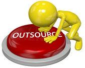 бизнес человек мультфильм толчок аутсорсинг кнопку концепция — Стоковое фото
