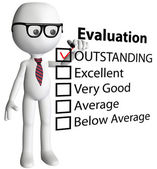 Cartoon teacher manager check evaluation form report — Stockfoto