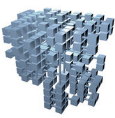Database structure data cubes network connections — Stock Photo