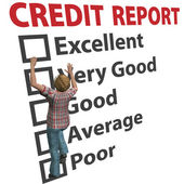 Woman builds up credit report score rating — Photo