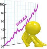 High tax increase chart ruin 3D taxpayer — 图库照片