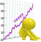 Hoge belastingen verhogen grafiek ruïne 3d belastingbetaler — Stockfoto