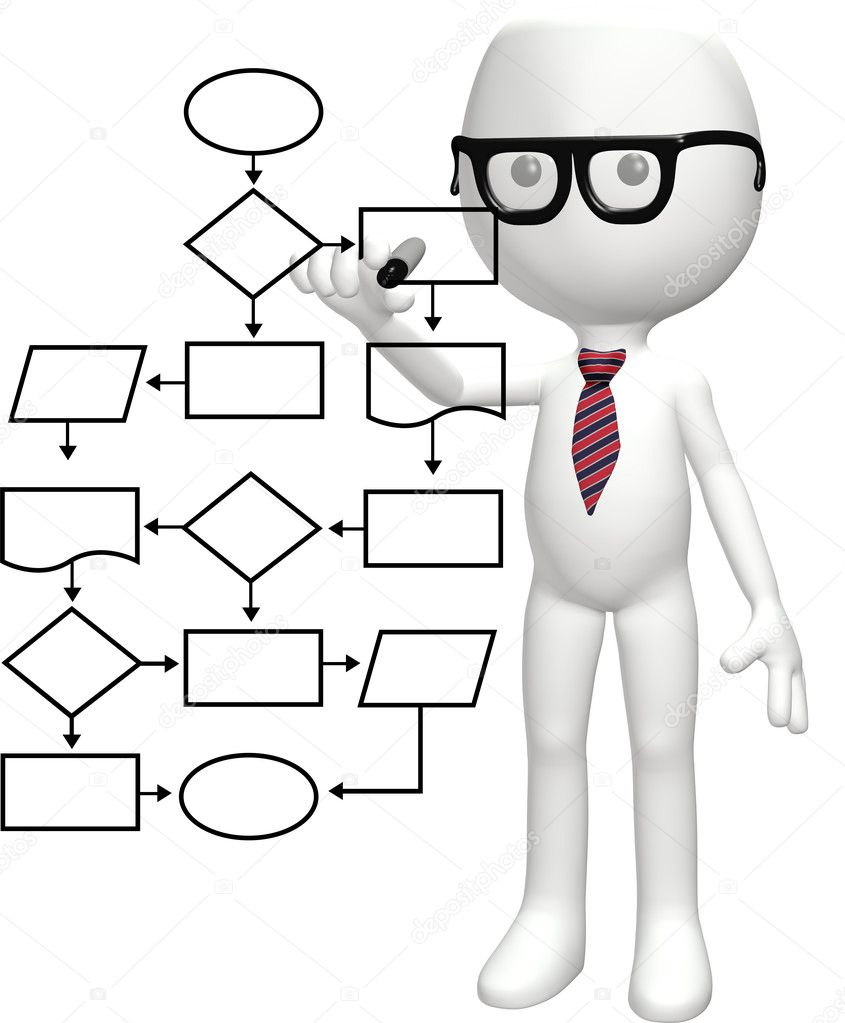 A cartoon nerd genius programs a smart flowchart process management system — Stock Photo #6113990