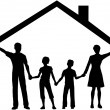 Family under house hold home roof over kids — Stock Vector