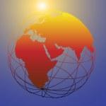 Global wireframe Eastern Earth globe bright sun — Vetor de Stock  #6113896
