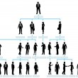 Organization corporate chart company silhouette - Vettoriali Stock