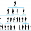 Organization corporate chart company silhouette - Векторная иллюстрация