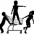Kids get cart rolling in big shopping expedition — Stock Vector