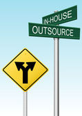 Outsourcing supply business decision signs — Vetor de Stock