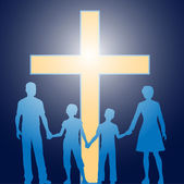 Christian family standing before luminous cross — Stock Vector
