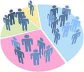 Statistics population data pie chart — Stock Vector