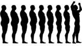 Daha önce diyet kilo kaybı başarı sonra uygun yağ — Stok Vektör
