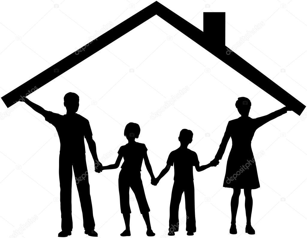 Aile evi alt nda tutmak ev at ocuklar zerinde stok vekt r michaeldb 6113892 - Houses attic families children ...