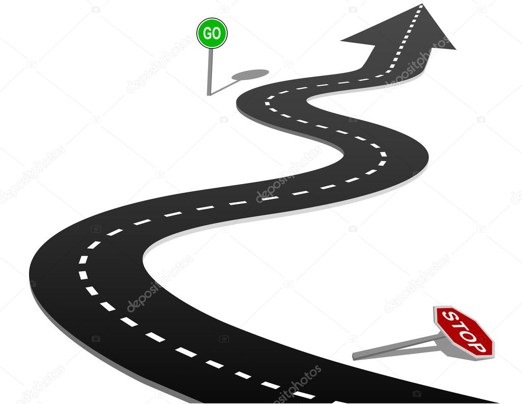 STOP and GO signs on curves of the highway forward to success — Stock Vector #6113901