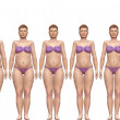 Fat Fit Before After Diet Weight Success Woman - Stock Photo