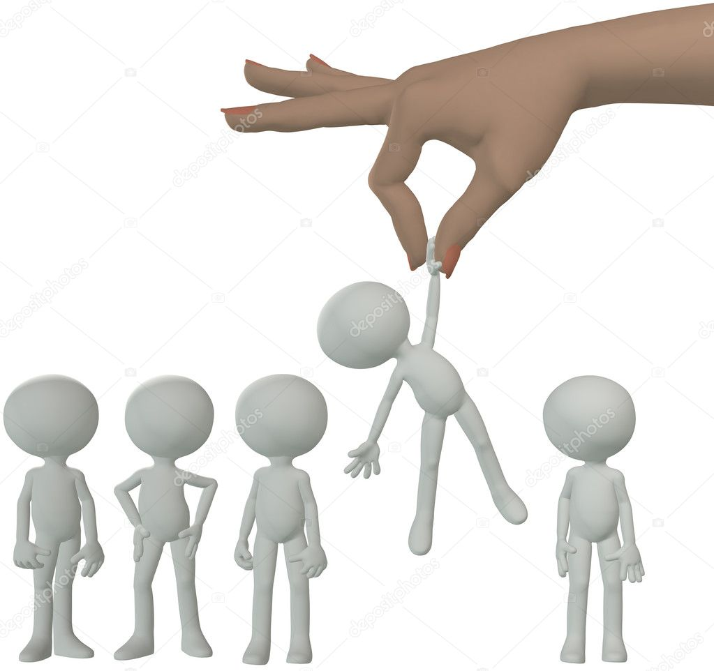 A female hand to find and choose a 3D person to dangle above a line of cartoon — Stock Photo #6161213