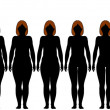 Fat Fit woman diet fitness after weight loss silhouettes — Imagen vectorial